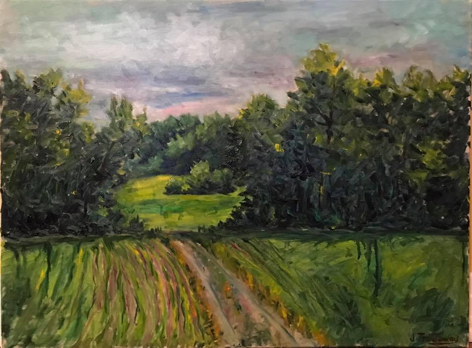 Justin Treadaway - Old Field Road (plein air oil)