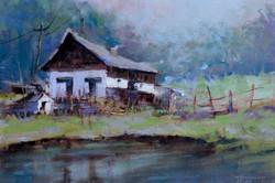 Christa Friedl - Farmhouse at a Pond (oil)