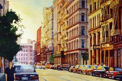 Mick Williams -  Brownstone Sunset (watercolor)