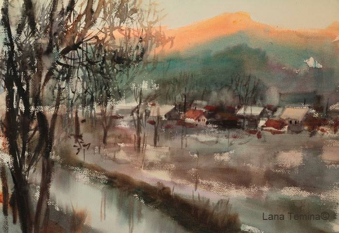 Lana Temina - Winter in Bulgaria 6 (watercolor)