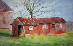 Jane Ramsey - Corn Crib Whimsy, Bucks County, PA (plein air watercolor)