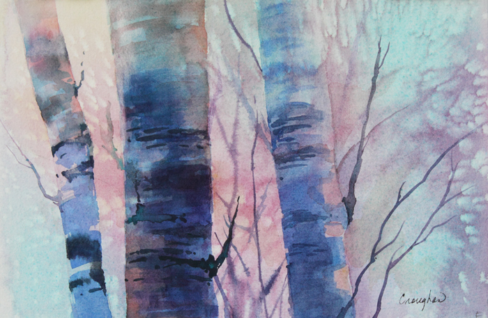 Grace Croughan - Sunrise Through The Birch (watercolor)
