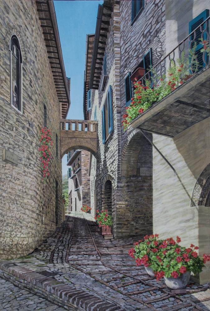 Freda Surgenor - Geraniums at Spello, Italy