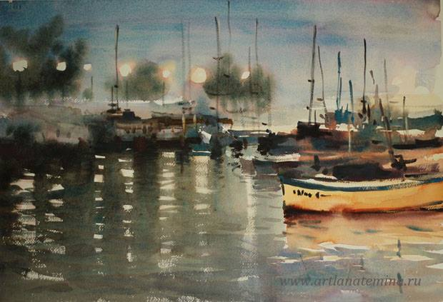 Lana Temina - Evening in Nesebar (watercolor)