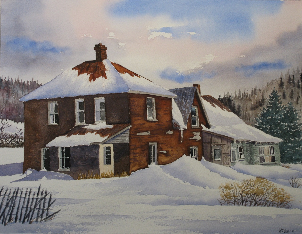 Roy Tibbits - Red House in Winter