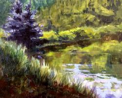 Louise Sackett - Enchanted Moon Pond, Taos