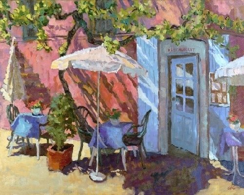 Connie Winters - Blue Tables in Rousillon (giclee print)