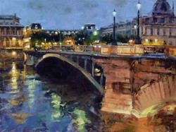 Desmond O'Hagan - Bridge Lights, Pont d'Arcole, Paris (oil)