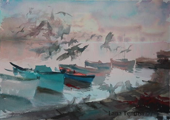 Lana Temina - Ghost Birds. Nessebar (watercolor)