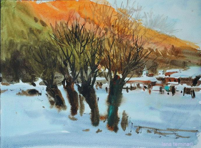 Lana Temina - Winter in Bulgaria 2 (watercolor)