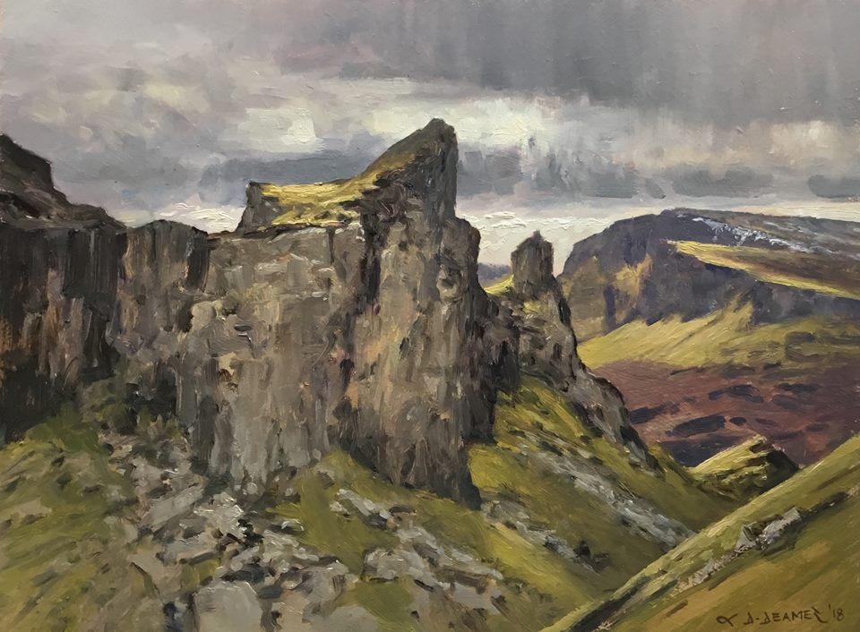 David Deamer - Along the Quiraing Path, the Prison Rock