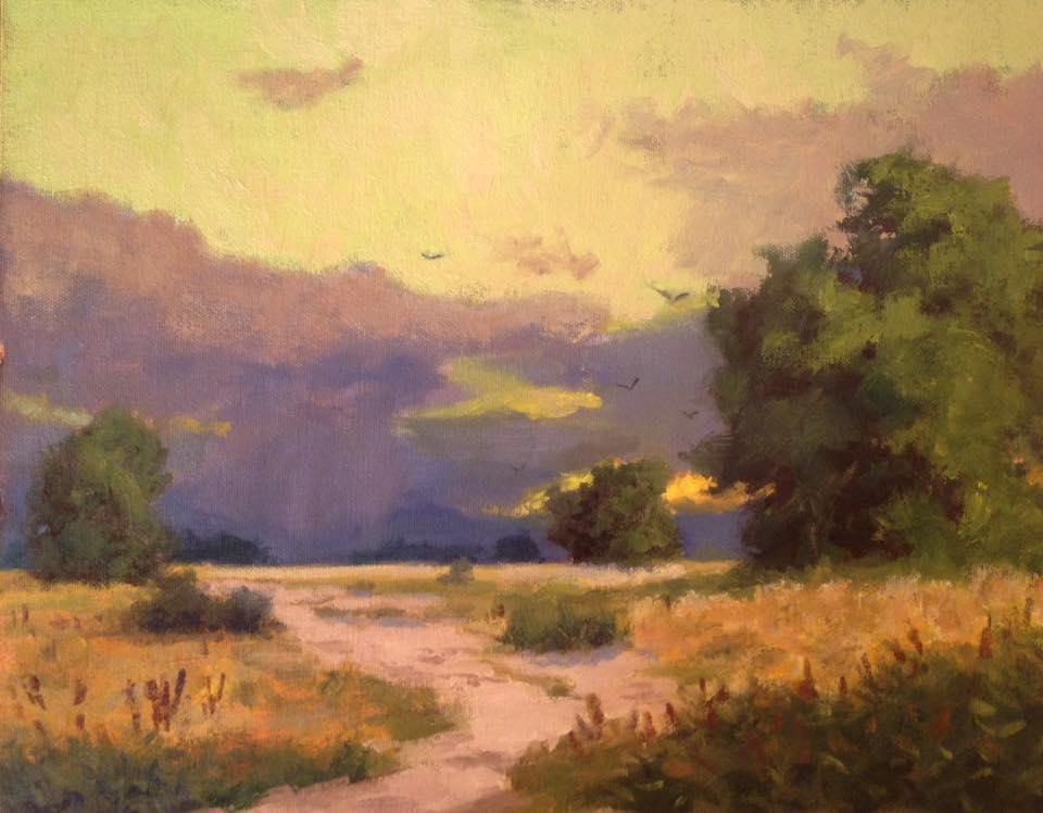 Richard E. Gallego - Near Bishop, Near Sundown (plein air)