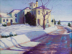 Jean Hirons - Yellow House in Winter