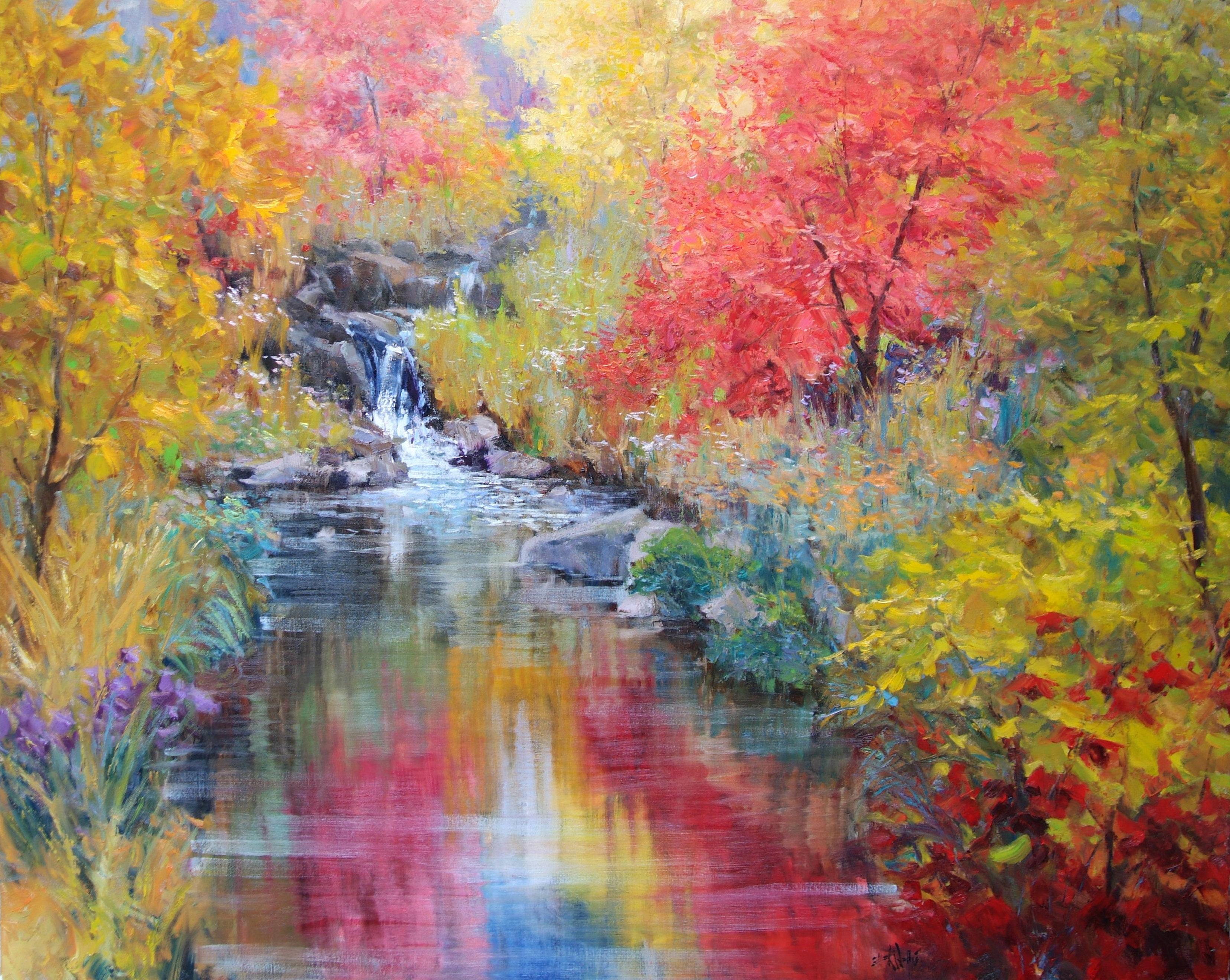 Eric Wallis - Pond and Colorful Brush