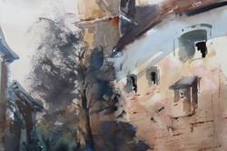 Christa Friedl - Burg Bernstein, Burgenland, Castle Bernstein (watercolor)
