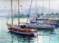 Igor Pozdeev - Yachts, Yalta (tempera)