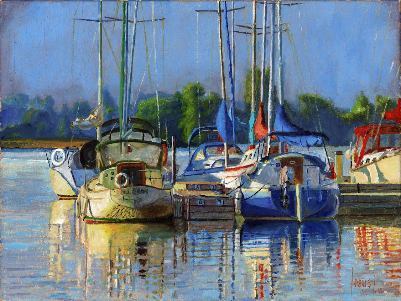 Jesus Estevez - White And Blue Boats ,Victoria Harbor, Belleville
