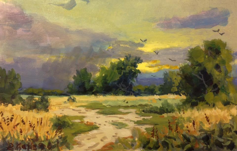 Richard E. Gallego - Study for 'Near Bishop, Near Sundown' (plein air)