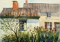 Lena Thynell - Old Summer Kitchen and Quince Tree (plein air)