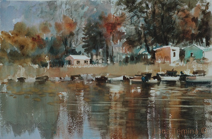 Lana Temina - Autumn at the Boat Station (watercolor)