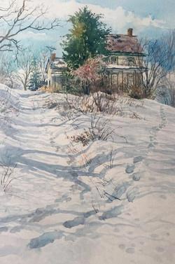 Jane Ramsey - Two Paths, Bucks County (plein air watercolor)