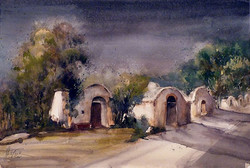 Christa Friedl - Wine Cellar Lane, Just Before a Thunder (watercolor)