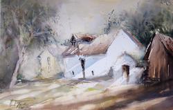 Christa Friedl - Wine Cellar Lane, Seebarn (watercolor)