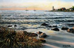 Eileen Patten Oliver - Sunset at Annisquam Beach