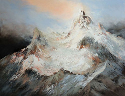 Christa Friedl - First Snow in the Alps (oil)