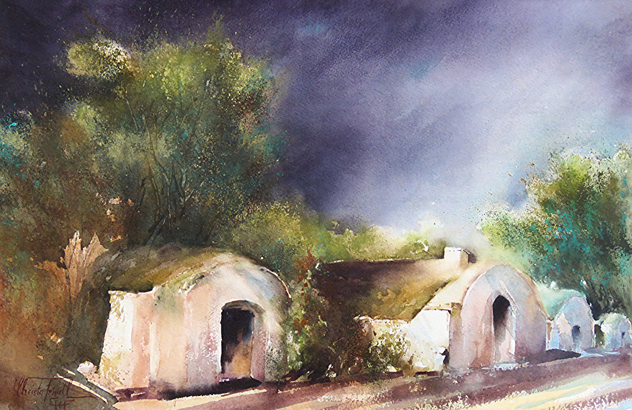 Christa Friedl - Before a Thunder (watercolor)