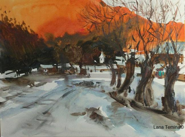 Lana Temina - Winter Sunset. View of the Monastery (watercolor) (2)