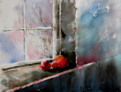 Christa Friedl - Three Red Apples (watercolor)