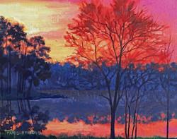 Nancy Paris Pruden - Piney Woods of East Texas at Sunset (plein air oil)