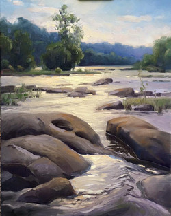 Olena Babak - Early Morning on James River (pony pastures)
