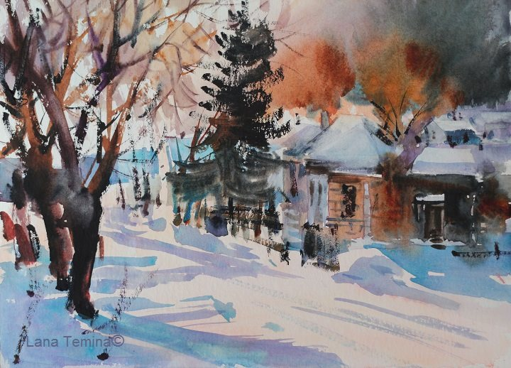 Lana Temina - Winter in Bulgaria 5 (watercolor)