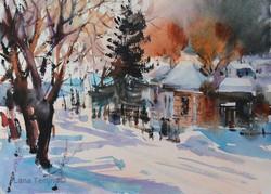 Lana Temina - Winter in Bulgaria 5 (watercolor)