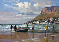 Roelof Rossouw - Early Morning, Fish Hoek (oil)