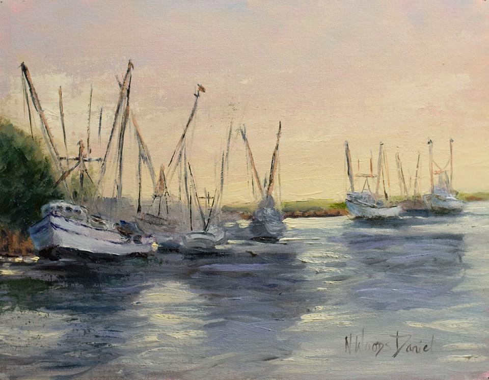 Nancy Woods Daniel - Early Morning Light at Darien Harbor