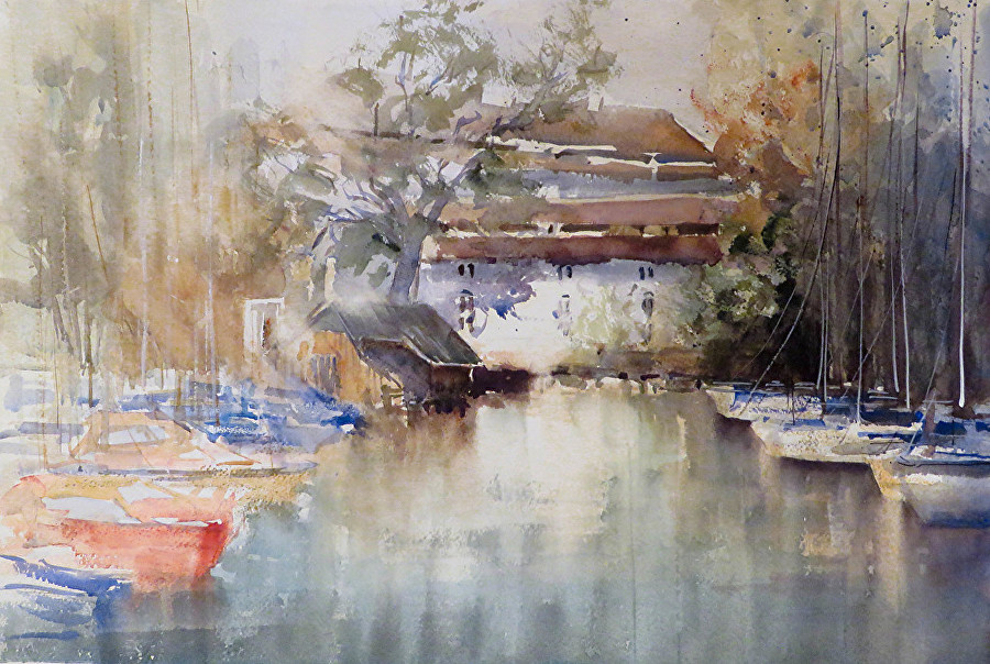 Christa Friedl - Castle Chamber on attersee (watercolor)