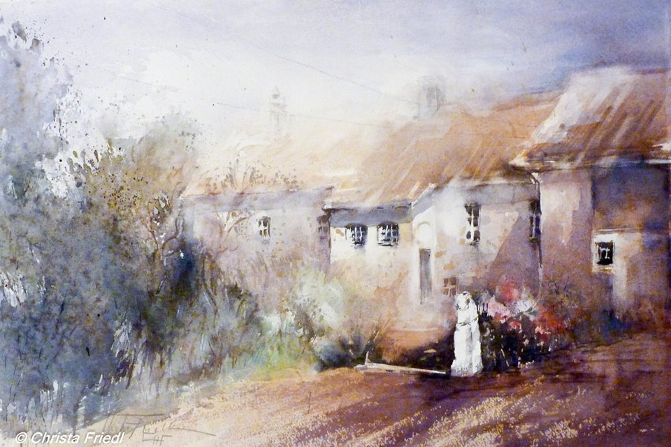 Christa Friedl - Amber Castle, Courtyard (watercolor detail)