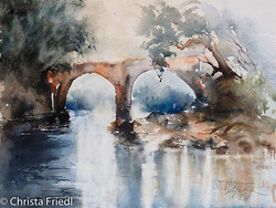 Christa Friedl - The Old Stone Bridge (watercolor)