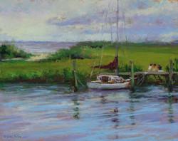 Lana Ballot - Sayville Docks, Gray Day (plein air)