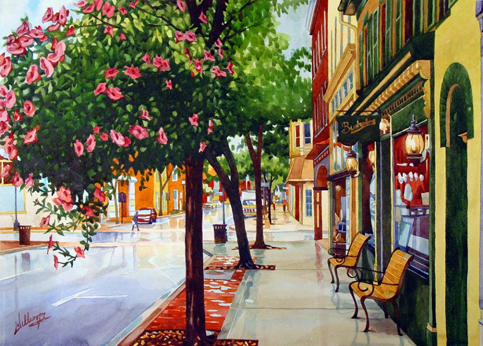 Mick Williams - Rain on Market (watercolor)
