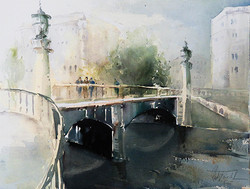 Christa Friedl - At the Danube Canal, Vienna (watercolor)