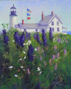 Jean Hirons - Lighthouse with Delphiniums