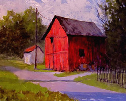 Ralph Parker - Back Alley Barn (gouache)