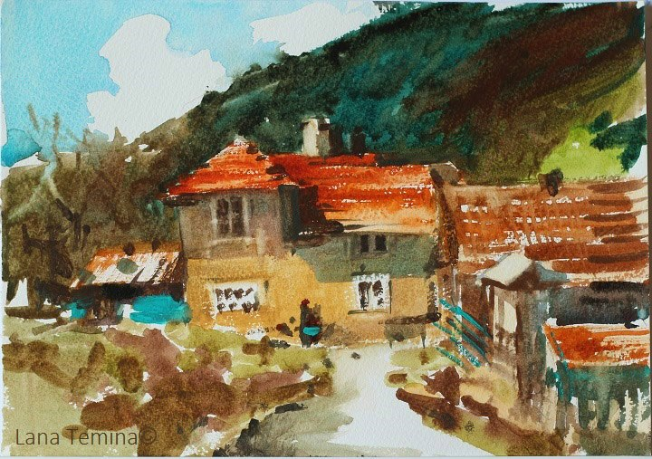 Lana Temina - Bulgaria landscape 1 (watercolor)