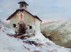 Christa Friedl - The Little Chapel High Up in the Mountains (oil)