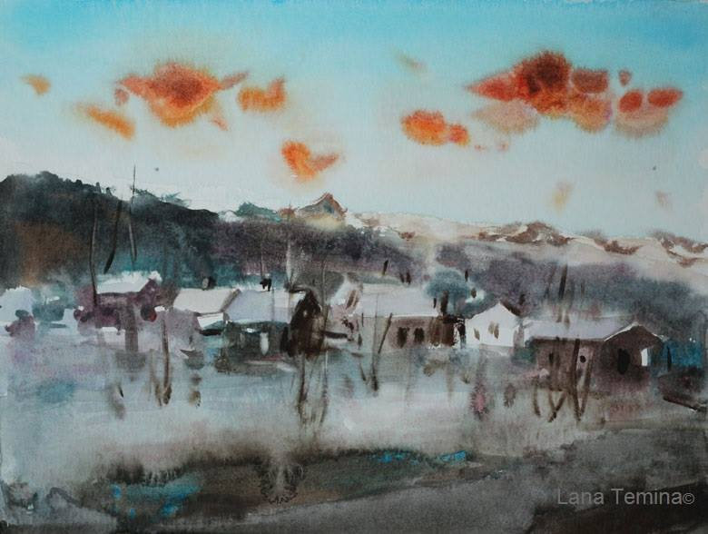 Lana Temina - Winter in Bulgaria 3 (watercolor)