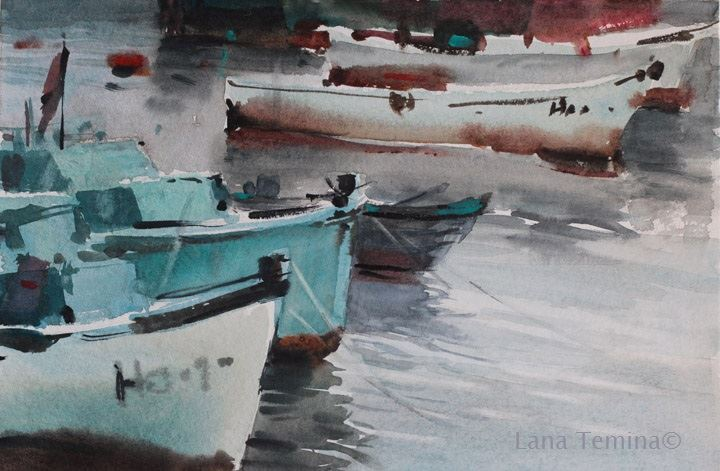 Lana Temina - Boats in Nesebar (watercolor)